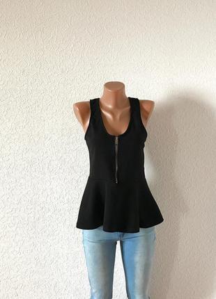 Фактурная чёрная блуза блузка с баской р. 10/38/м sale! скидки!