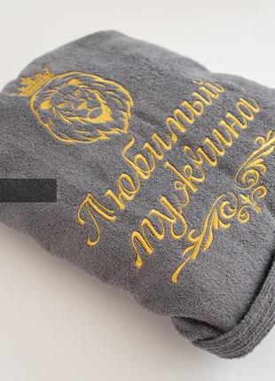 Махровый халат premium с вышивкой