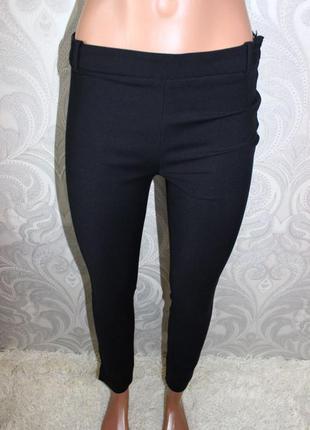 Черные зауженные брюки zara xs-s