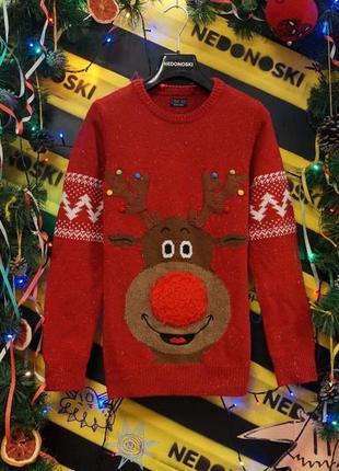 Новогодний рождественский праздничный свитер 3-d олень (11 лет)