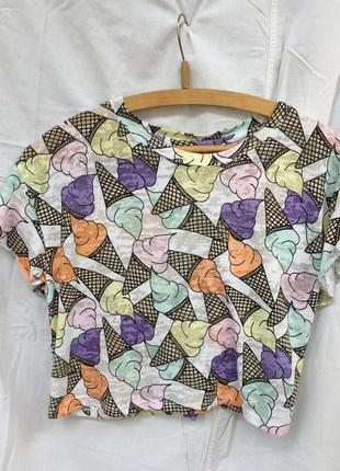 Кроп топ майка футболка в принт мороженое h&m