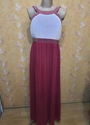 Платье вечернее в  пол с вышивкой бисером