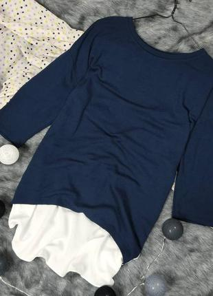 Свитер джемпер кофточка двойка с низом рубашкой tu