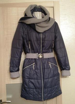Акция 1+1=3🤑🤩шикарная. стильная куртка,пуховик под пояс с капюшоном-шарфом