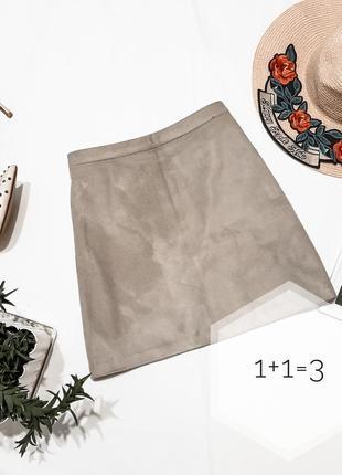Primark базовая замшевая мини юбка m-l на талию трапеция тренд стильная короткая