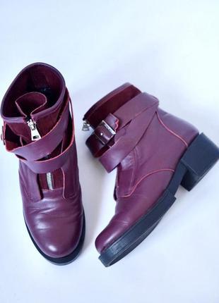 Зимние кожаные ботинки на толстой подошве. кожаные сапожки зима