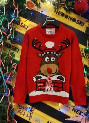 Новогодний рождественский праздничный свитер 3-d олень (11-12 лет)