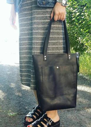 Кожаная сумка-шоппер, черная вместительная сумка из натуральной кожи на плечо