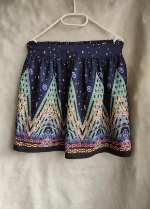 Синяя разноцветная короткая шелковая плотная юбка с принтом рисунком с резинкой dolce