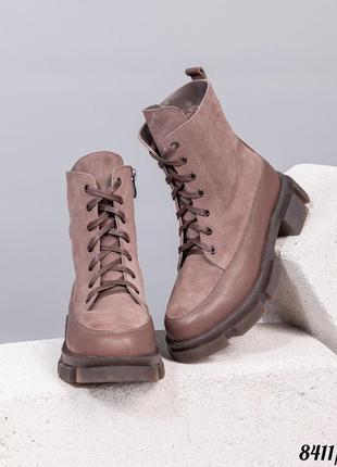 Зимние ботинки натуральная замша/кожа внутренний утеплитель - набивная шерсть код 8411/1