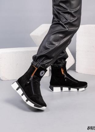 Зимние ботинки натуральная замша внутренний утеплитель - набивная шерсть