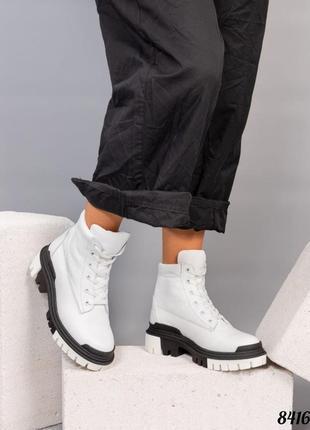 Зимние ботинки натуральная кожа внутренний утеплитель - набивная шерсть код 8416/1