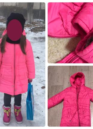 Зимняя куртка на овчине в идеале на 5-6 лет
