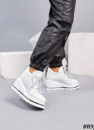 Зимние ботинки на платформе натуральная кожа  - набивная шерсть код 8419/1