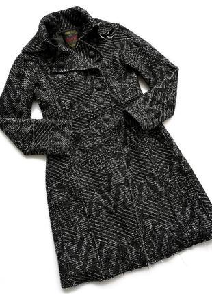 Тёплое уютное твидовое итальянское шерстяное пальто италия