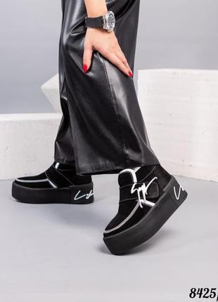 Зимние ботинки с декором натуральная замша  - набивная шерсть код 8425/1