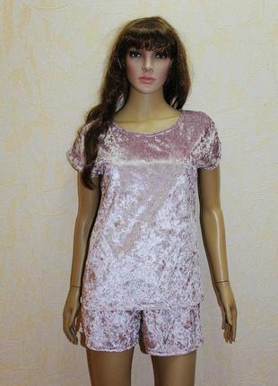 Женская пижама мраморный велюр