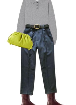 Брюки костюмные с защипами классические высокие талия свободные теплые шерсть купить цена