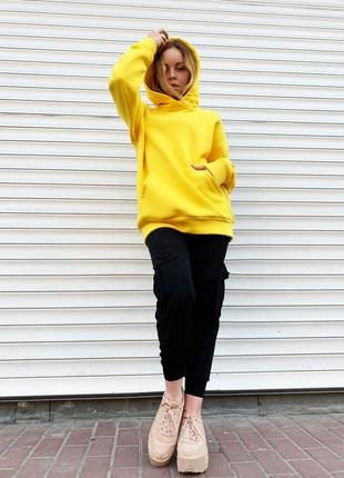 Желтый худи оверсайз, свитшот, реглан, толстовка, спортивная кофта