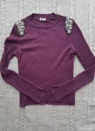 Фиолетовый свитерок с бусинами tezenis, m,италия