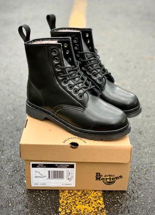 Dr. martens 1460 smooth mono black fur женские кожаные зимние ботинки на меху ❤️