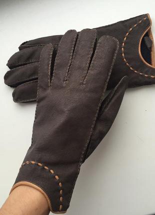 Кожаные женские перчатки, рукавиці шкіряні, коричневые теплые