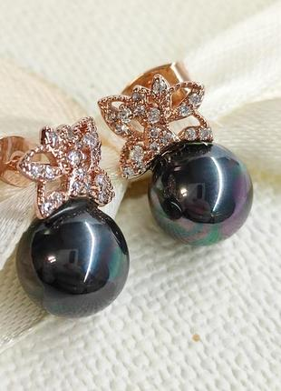 Серги сережки чорна перлина