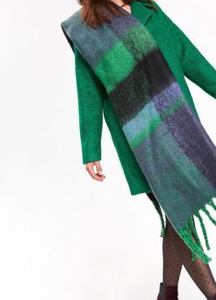 Теплый большой шарф в клетку клетка зимний