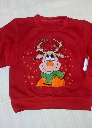 Новогодний реглан с оленем красный свитер на новый год кофта с оленем