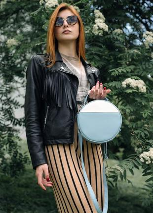 Стильная женская сумка круглая (кросс-боди)