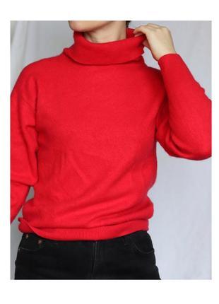 Красный кашемировый свитер гольф джемпер светр 100% кашемир