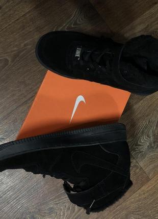 Ботинки зимние замшевые чёрные nike оригинальные с коробкой новые