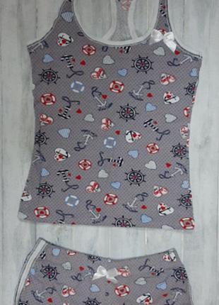 Костюм майка с шортами, трикотажная пижама турция, nikoletta