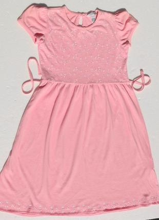 H&m. трикотажное хлопковое платье с вышивкой. 140