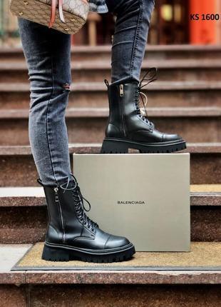 Женские зимние ботинки balenciaga (черные)