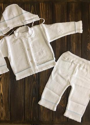 Комплект вязанный для новорожденного лютик, хлопок