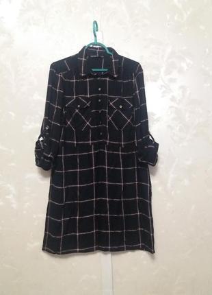 Вискозное платье-рубашка в клетку