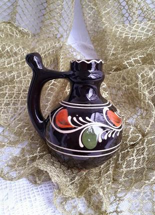 Бюветница кувшин с носиком керамика ручная роспись винтаж опошнянский