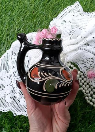 Кувшин с носиком бюветница ссср керамика опошнянская ручная роспись