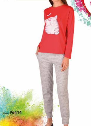 Пижама женская со штанами - кот с бабочкой