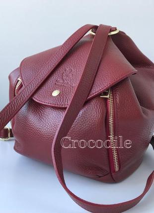 Сумка-рюкзак 29544 /италия/ натуральная кожа темно-красный