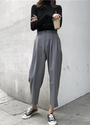 Серые шерстяные брюки