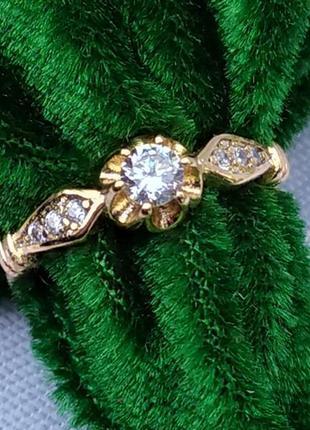 Позолоченное кольцо р.17 с цирконами, позолота 18 карат 585 пробы, xuping