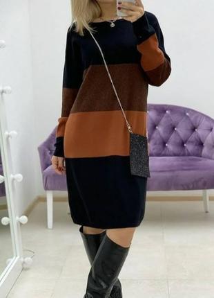 Стильное платье свободного кроя бохо 40-70 разм трикотаж