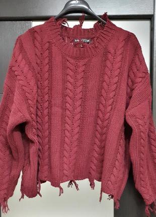 Укороченный бордовый бургунди свитер оверсайз бахрома джемпер пуловер кофточка boohoo