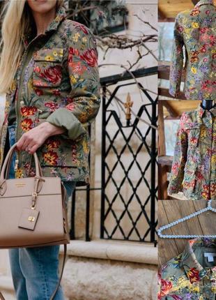 Фирменная стильная качественная натуральная куртка парка в цветочный принт