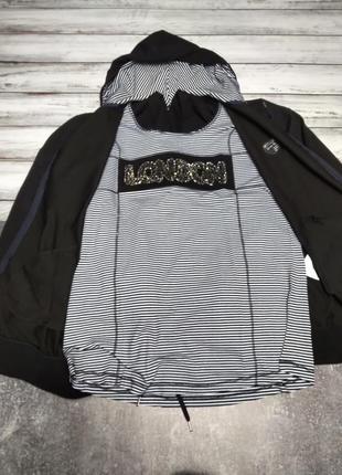 Женский трикотажный батальный костюм тройка чёрный, в полоску