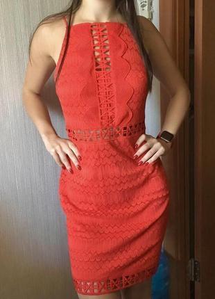 Яркое платье на тонких бретелях topshop