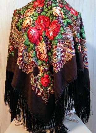 Українська національна хустка, национальный платок с бахромой, коричневый, в расцветках