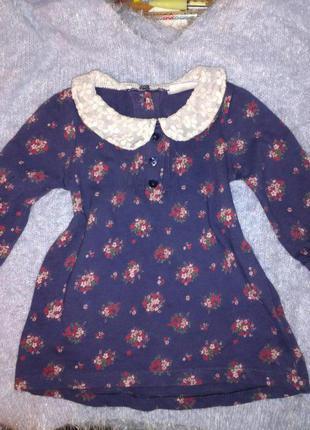 Детское платье с кружевом в цветы f&f